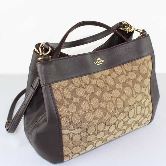 540b79647807 Coach Handbags - Coach Outline Signature Small Lexy Khaki Brown